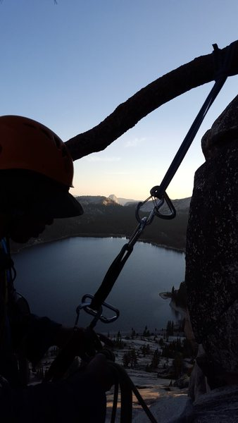 Rock Climbing Photo: Rapping from tree on descent - sunset on half dome...