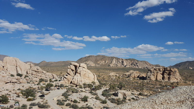 view of Chimney Rock, Cyclops, and campground from top of Toe Jam