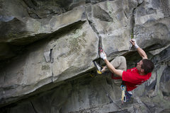 Rock Climbing Photo: Pulling the lip on Angle of the Dangle. Photo by S...