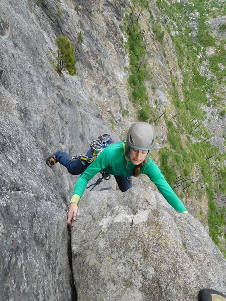 Rock Climbing Photo: Last smeary moves of pitch 4.