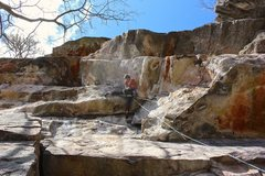 Rock Climbing Photo: Getting into the second crux on p1