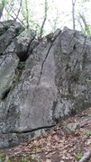 Rock Climbing Photo: Straight up the nice but short crack that splits t...