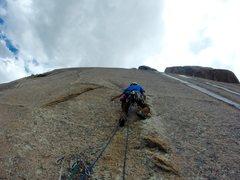 Rock Climbing Photo: Beginning the second pitch on the faint dike.