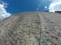 Rock Climbing Photo: The second pitch follows a faint dike up the slab-...