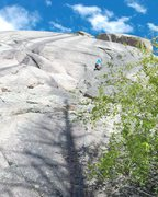 Rock Climbing Photo: In the cracks at the beginning of the route - dece...