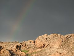Rock Climbing Photo: Arch Rock with rainbow.