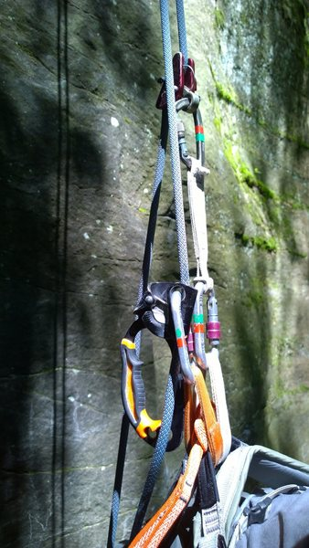 Rock Climbing Photo: Top rope solo setup - the Petzl way...