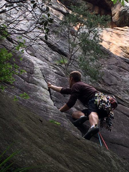 Rock Climbing Photo: Aaron jamming on Ritz Cracker