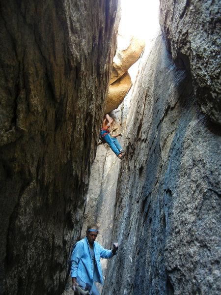 Rock Climbing Photo: Myles Moser on a shirtless(!) lap of Chocolate Poc...