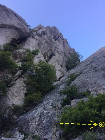 The slabs to the right have a rap-station at the top. Its best to belay from the upper base of the slabs