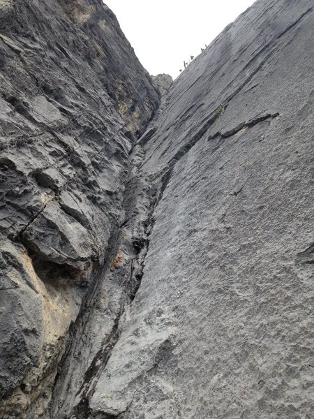 Rock Climbing Photo: Looking up at the excellent pitch 3