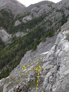 Rock Climbing Photo: A cairn on the ledge for the descent. This is arou...