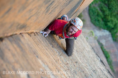 Rock Climbing Photo: Jeff Snyder on the thin locks on the 3rd pitch   P...