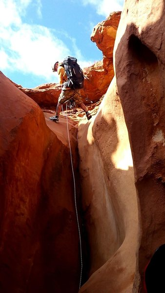 First rappel in blue John canyon, utah