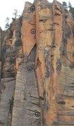 Rock Climbing Photo: Upper part of Valhalla. Follows the left facing co...