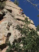 Moving through the crux, amazing movement and classic gear placements!