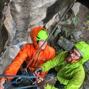 Rock Climbing Photo: Hangin with my bud....in the rain
