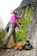 """Rock Climbing Photo: Trish belaying on """"E"""" with her tired pup..."""