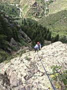 Rock Climbing Photo: Jake on the upper pitch, after turning the overhan...