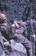Rock Climbing Photo: Bivy on the Dru .. Chamonix .. France .. 1958