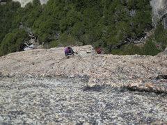 Rock Climbing Photo: Joan coming up Hawk Tower Buttress