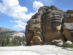 Rock Climbing Photo: Climber getting ready to make the roof move on Har...