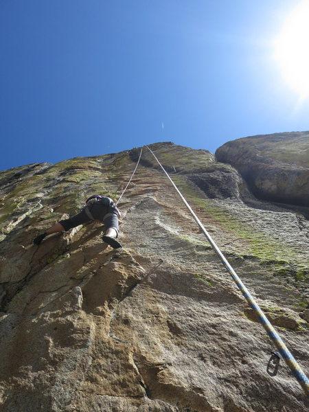 Rock Climbing Photo: Joan on Shangri La
