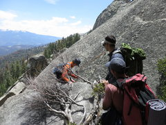 Rock Climbing Photo: Climbers getting ready to rap the fixed line to ge...