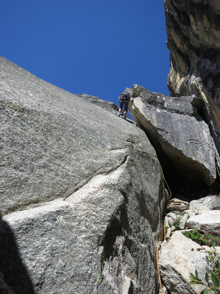 Rock Climbing Photo: Climber rapping down the fixed line to get to the ...