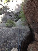 Rock Climbing Photo: Looking down at the crux area and annoying bush.