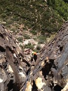 Rock Climbing Photo: Looking down the first pitch