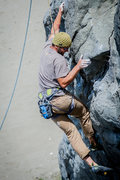 Rock Climbing Photo: Zacharia climbing on the dihedral to the right of ...
