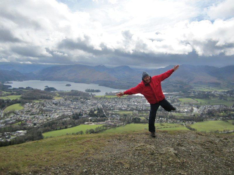 Rock Climbing Photo: A flying Alan Hinkes.. on Latrigg above Keswick