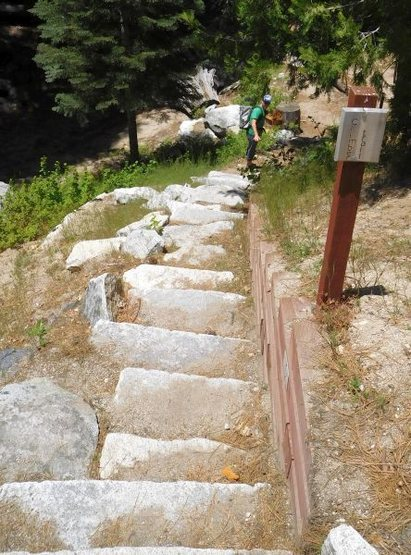 Stairs at the start of the trail, Suicide Rock