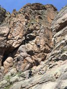 Rock Climbing Photo: Left climber is on Shimminy, right climber is on R...