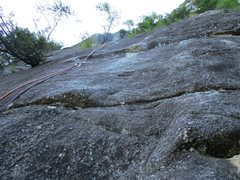 Rock Climbing Photo: Looking up from the base of Pitch 1 of Borderline....