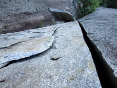 Rock Climbing Photo: Looking down Pitch 2 of Blazing Saddles. Note the ...