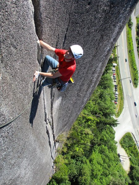 Todd on Pitch 3 of Calculus Crack. You know it's steep when the road is vertical.