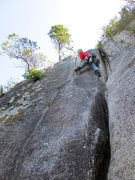Rock Climbing Photo: Todd at the 5.8 crux on Pitch 2 of Calculus Crack/...