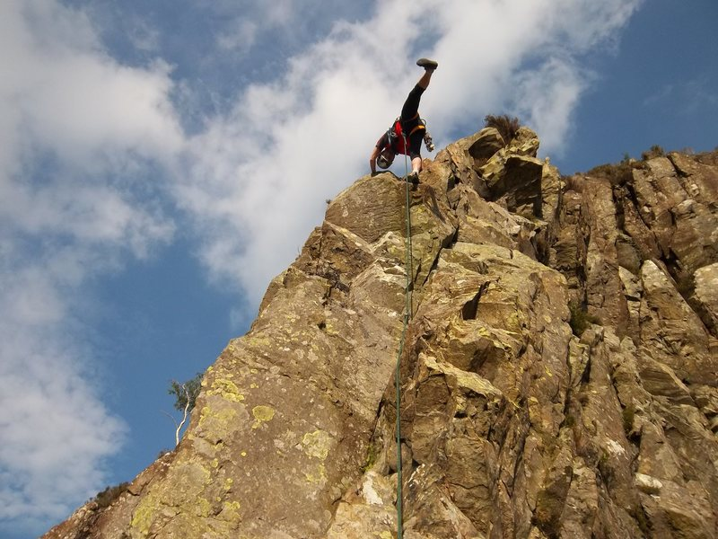 Rock Climbing Photo: P.Ross on top pitch Troutdale Pinnacle 2016