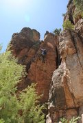 Rock Climbing Photo: Start in the corner, then after a couple bolts, he...