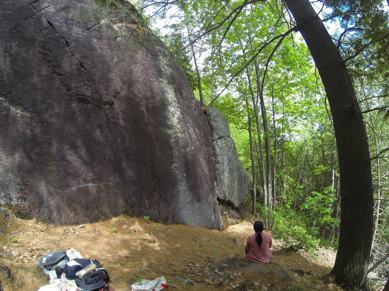 Right side of crag, with view of 5.6 crack