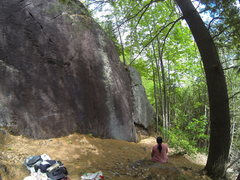 Rock Climbing Photo: Right side of crag, with view of 5.6 crack