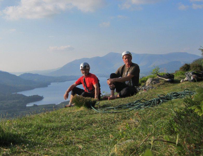 Paul Ross and Alan Hinkes top of Black Crag June 2016