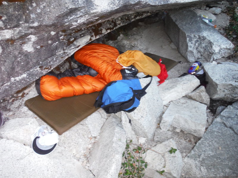 One of the two bivy caves at the base