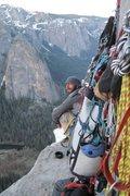 Rock Climbing Photo: Big Wall #2 w/ ciggy, coffee, & topo at hand!!