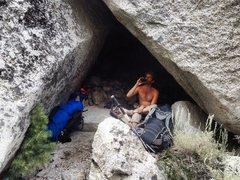 Rock Climbing Photo: Plush alpine Bivi cave & brew!!!