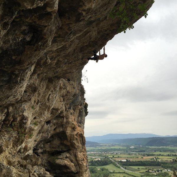 Rock Climbing Photo: Charles de Goal (7b) at Volx, France