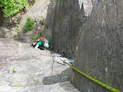 Rock Climbing Photo: Following on Green Route.