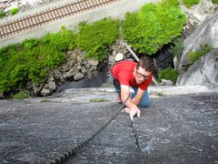 Rock Climbing Photo: Todd cruising the 11a finger crack on Pitch 1 of G...